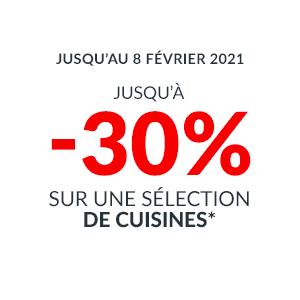 Jusqu'à -30% sur une selection de Cuisines sur mesure